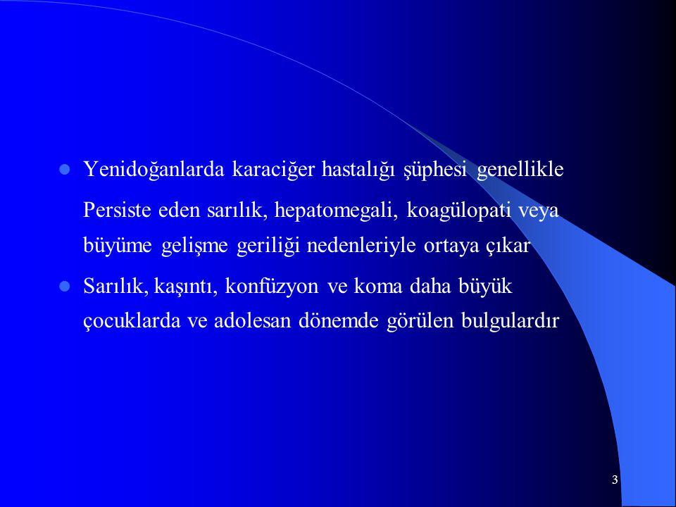 4 Yenidoğan ve infantlar Yenidoğan ve infantlar Kolestatik nedenler(Bilyer atrezi,Koledok kisti,Alagilles,vb Kolestatik nedenler(Bilyer atrezi,Koledok kisti,Alagilles,vb Idiopatik neonatal hepatit ve taklit edenler(Kistik fibrosis, Alfa1 antitripsin eksikliği, Hipotiroidizm) Idiopatik neonatal hepatit ve taklit edenler(Kistik fibrosis, Alfa1 antitripsin eksikliği, Hipotiroidizm) Viral hepatit ve diğer enfeksiyöz nedenler(TORCH, Sepsis Üriner enfeksiyon) Viral hepatit ve diğer enfeksiyöz nedenler(TORCH, Sepsis Üriner enfeksiyon) Metabolik hastalıklar Metabolik hastalıklar Toksik ve farmakolojik nedenler(TPN) Toksik ve farmakolojik nedenler(TPN) Tümörler(İntra ve Ekstrahepatik) Tümörler(İntra ve Ekstrahepatik)