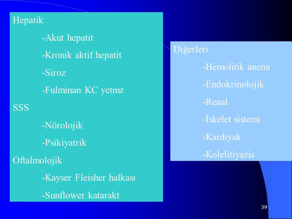 39 Hepatik -Akut hepatit -Kronik aktif hepatit -Siroz -Fulminan KC yetmz SSS -Nörolojik -Psikiyatrik Oftalmolojik -Kayser Fleisher halkası -Sunflower