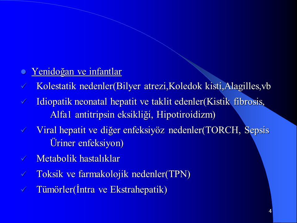 15 Hepatomegali (Tanım ) 1.Sağda midklaviküler hatta kot altından uzaklık Yenidoğan:3.5 cm'den daha fazla olması Diğer :2 cm'den daha fazla olması 2.Karaciğer boyutu(Liver span);Üst sınır perküsyonla - alt sınır perküsyon ve palpasyonla) Yenidoğan: 4.5-5 cm 10-12 yaş : 6-6.5 cm(kız),7-8 cm(er) Pediatrics in Review vol.21 no.9 Sep 2000