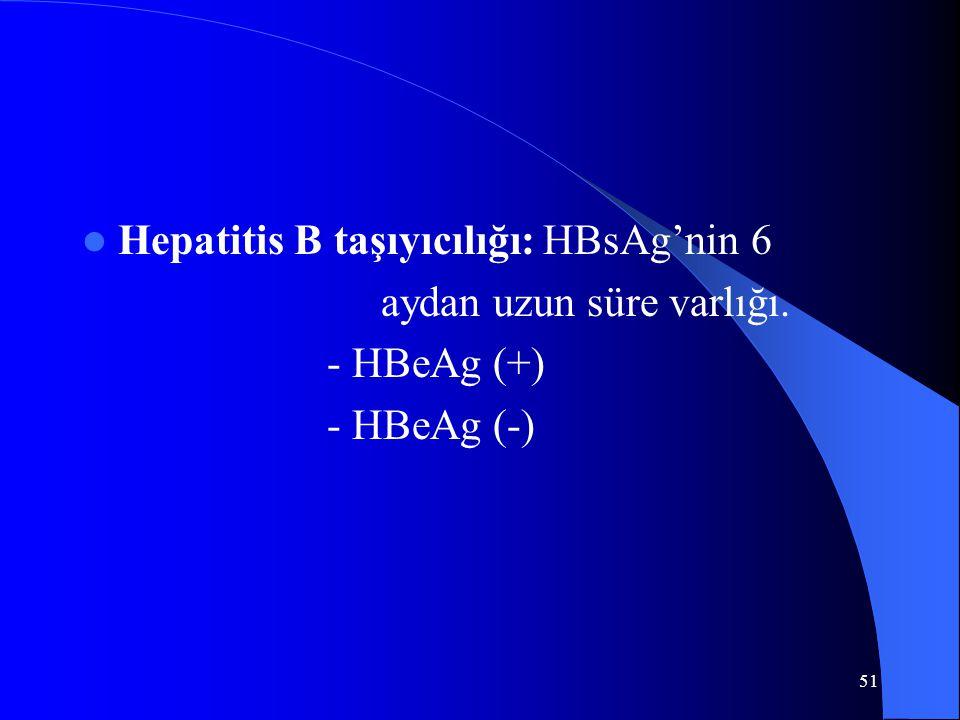 51 Hepatitis B taşıyıcılığı: HBsAg'nin 6 aydan uzun süre varlığı. - HBeAg (+) - HBeAg (-)