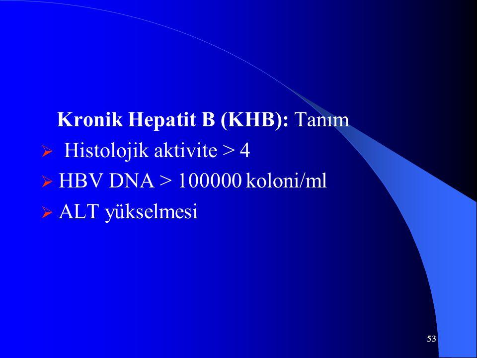53 Kronik Hepatit B (KHB): Tanım  Histolojik aktivite > 4  HBV DNA > 100000 koloni/ml  ALT yükselmesi