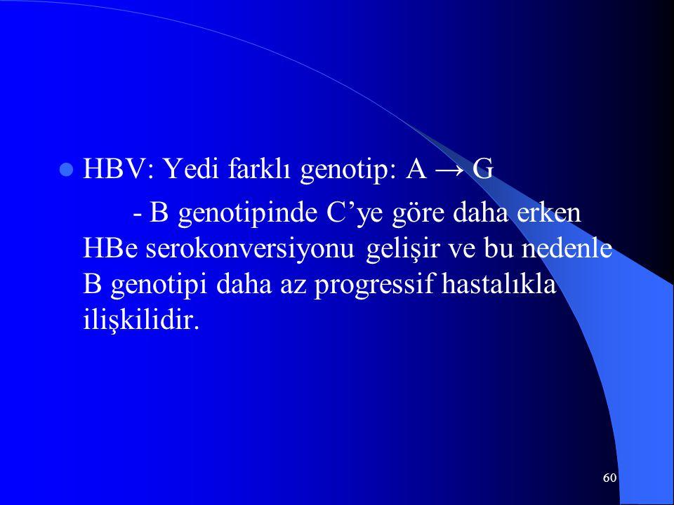 60 HBV: Yedi farklı genotip: A → G - B genotipinde C'ye göre daha erken HBe serokonversiyonu gelişir ve bu nedenle B genotipi daha az progressif hasta