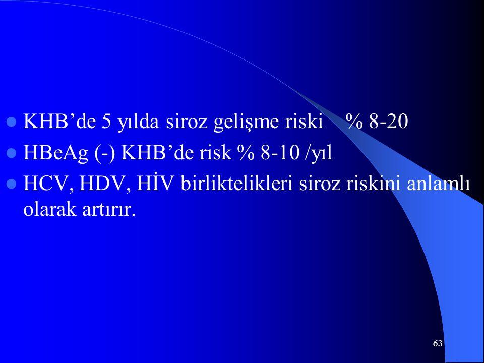 63 KHB'de 5 yılda siroz gelişme riski % 8-20 HBeAg (-) KHB'de risk % 8-10 /yıl HCV, HDV, HİV birliktelikleri siroz riskini anlamlı olarak artırır.