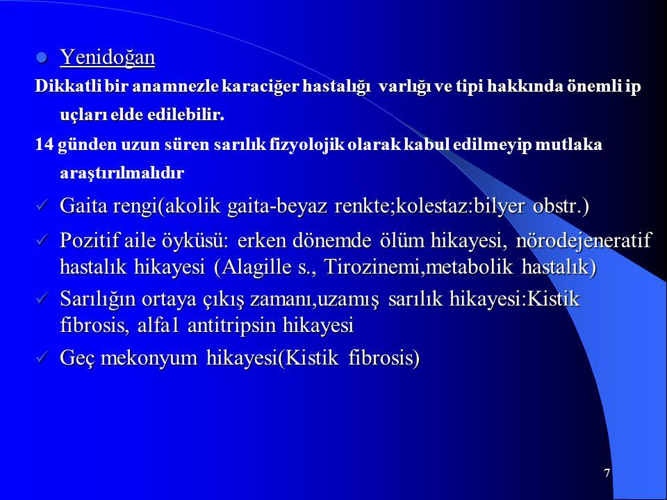 7 Yenidoğan Yenidoğan Dikkatli bir anamnezle karaciğer hastalığı varlığı ve tipi hakkında önemli ip uçları elde edilebilir Dikkatli bir anamnezle kara