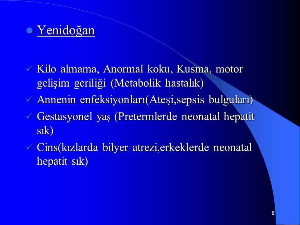 8 Yenidoğan Yenidoğan Kilo almama, Anormal koku, Kusma, motor gelişim geriliği (Metabolik hastalık) Kilo almama, Anormal koku, Kusma, motor gelişim ge