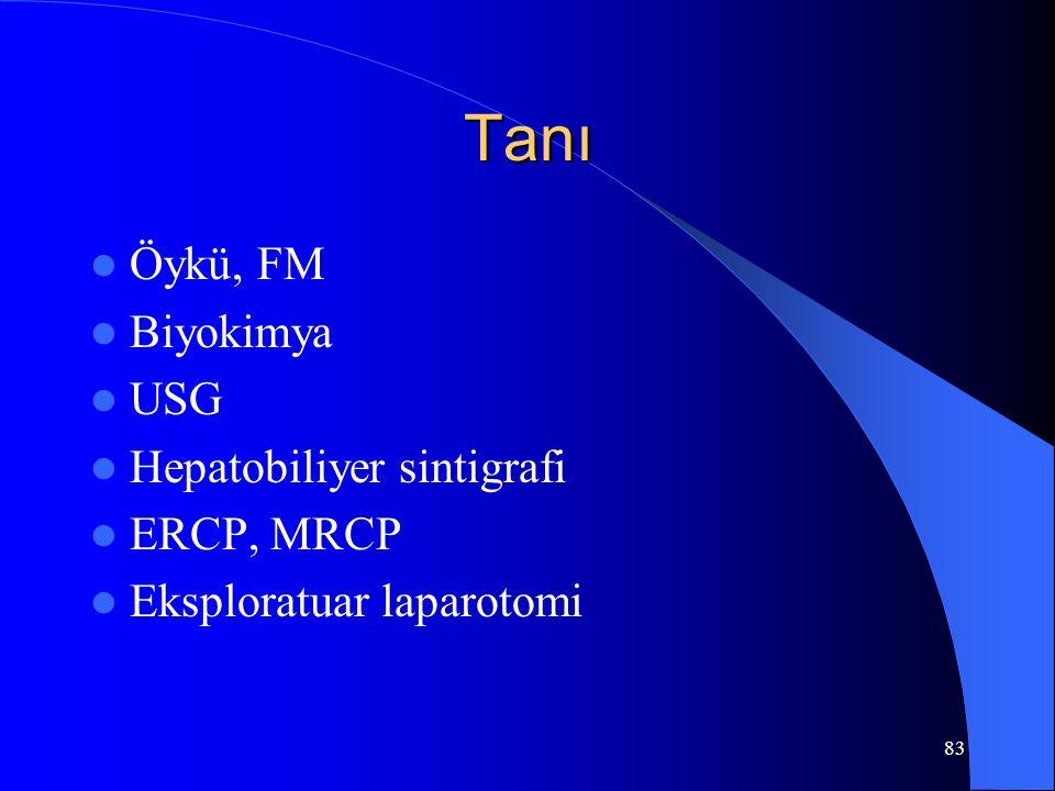 83 Tanı Öykü, FM Biyokimya USG Hepatobiliyer sintigrafi ERCP, MRCP Eksploratuar laparotomi