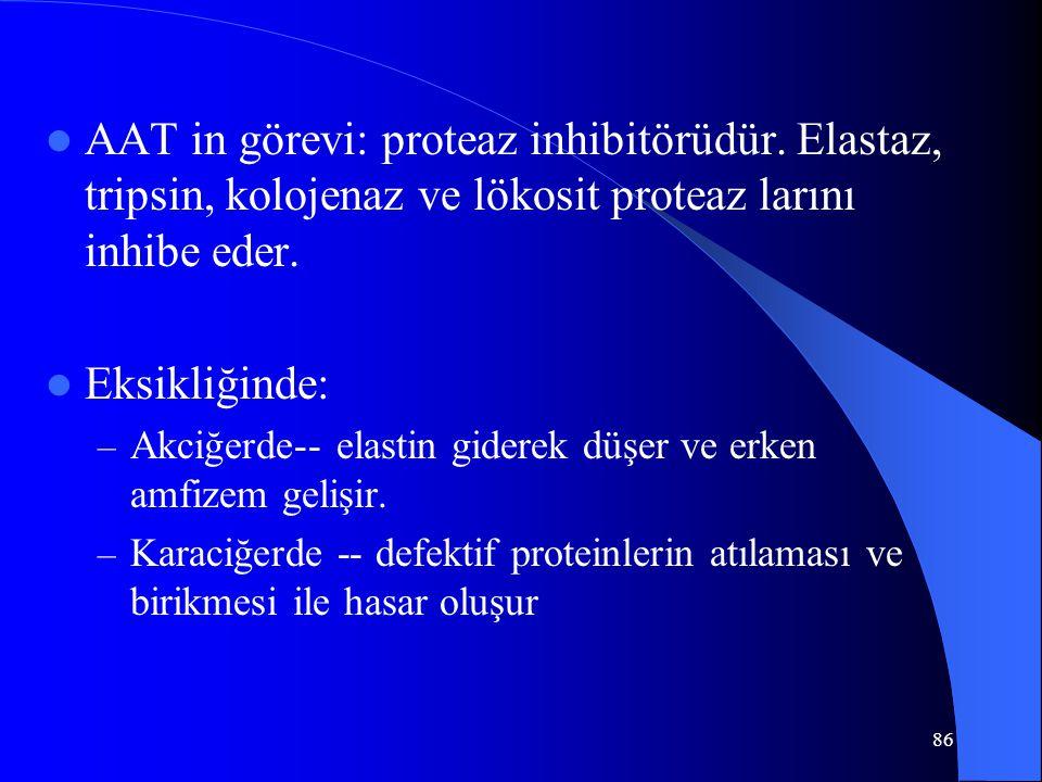 86 AAT in görevi: proteaz inhibitörüdür.