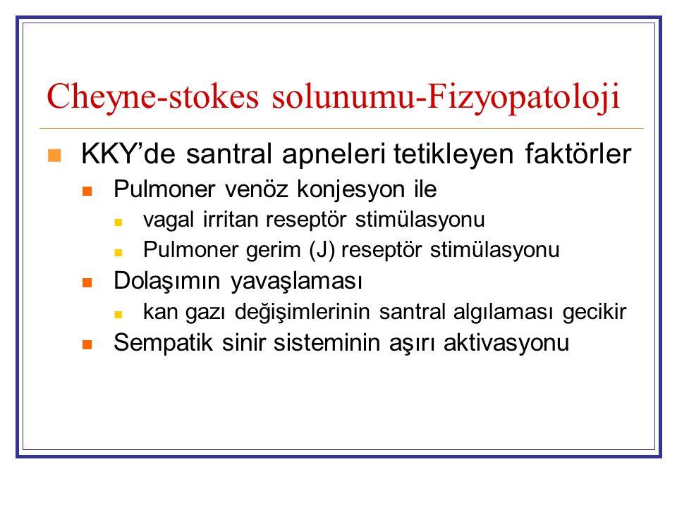 Cheyne-stokes solunumu-Fizyopatoloji KKY'de santral apneleri tetikleyen faktörler Pulmoner venöz konjesyon ile vagal irritan reseptör stimülasyonu Pul