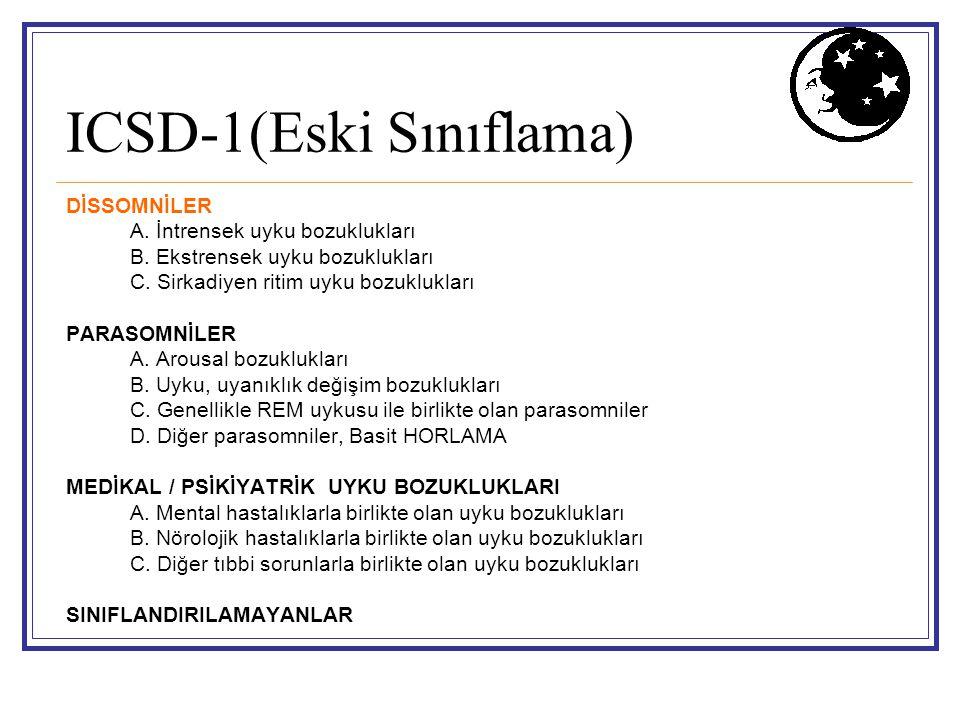 ICSD-1(Eski Sınıflama) DİSSOMNİLER A. İntrensek uyku bozuklukları B. Ekstrensek uyku bozuklukları C. Sirkadiyen ritim uyku bozuklukları PARASOMNİLER A