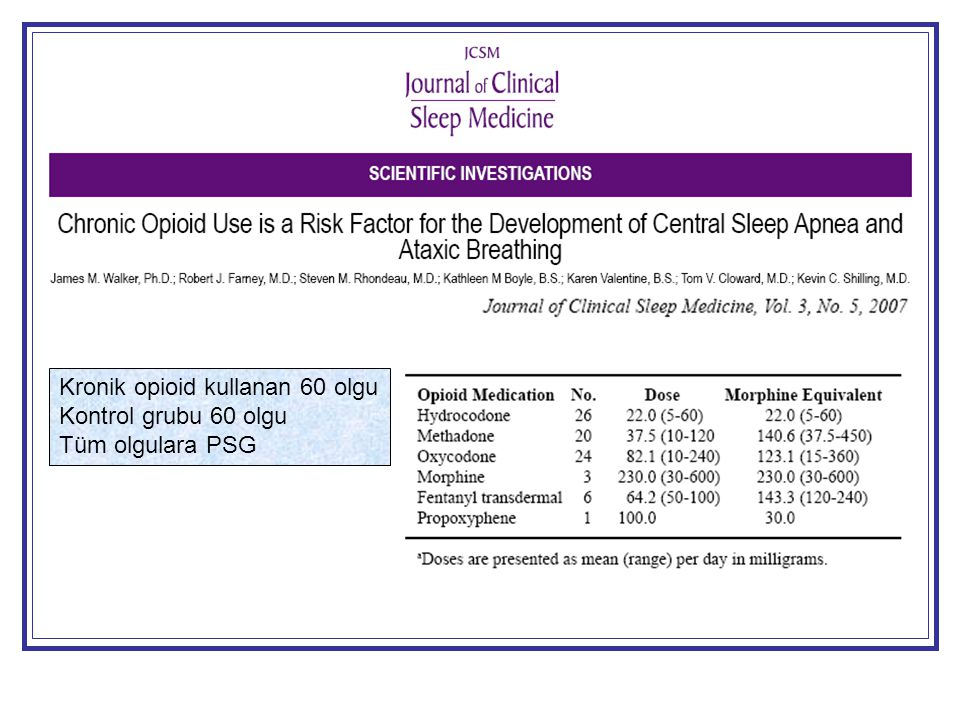 Kronik opioid kullanan 60 olgu Kontrol grubu 60 olgu Tüm olgulara PSG
