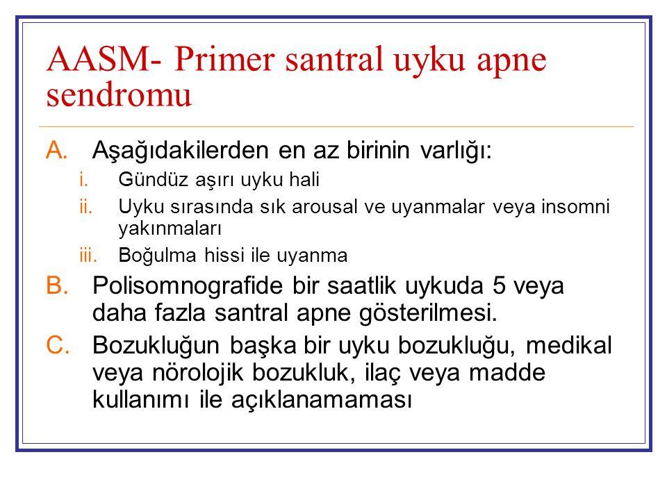 AASM- Primer santral uyku apne sendromu A.Aşağıdakilerden en az birinin varlığı: i.Gündüz aşırı uyku hali ii.Uyku sırasında sık arousal ve uyanmalar v