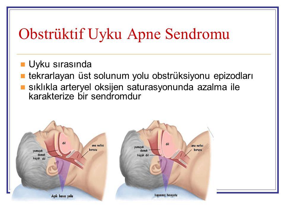 Obstrüktif Uyku Apne Sendromu Uyku sırasında tekrarlayan üst solunum yolu obstrüksiyonu epizodları sıklıkla arteryel oksijen saturasyonunda azalma ile
