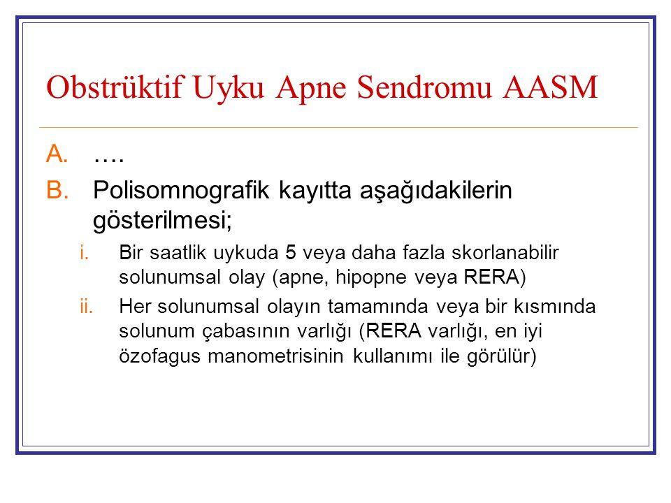 Obstrüktif Uyku Apne Sendromu AASM A.…. B.Polisomnografik kayıtta aşağıdakilerin gösterilmesi; i.Bir saatlik uykuda 5 veya daha fazla skorlanabilir so