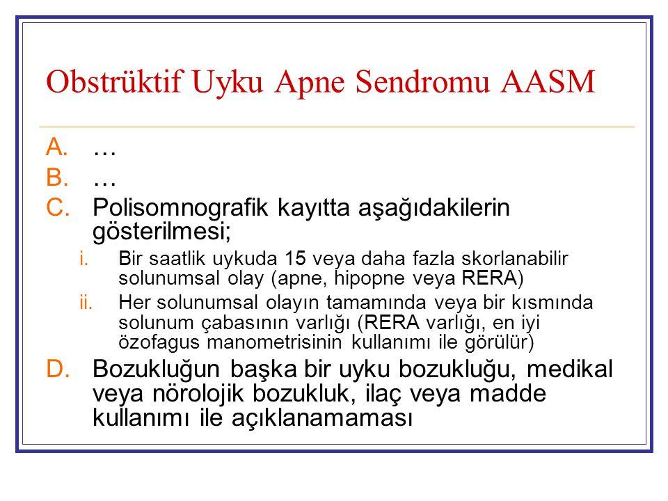 Obstrüktif Uyku Apne Sendromu AASM A.… B.… C.Polisomnografik kayıtta aşağıdakilerin gösterilmesi; i.Bir saatlik uykuda 15 veya daha fazla skorlanabili