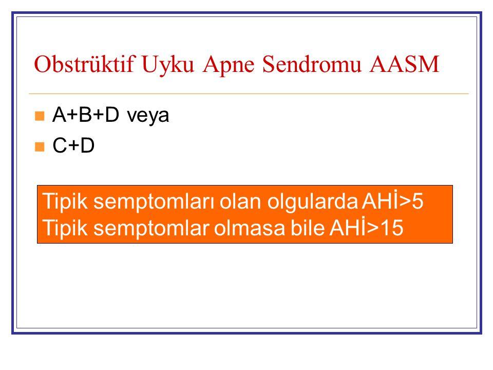 Obstrüktif Uyku Apne Sendromu AASM A+B+D veya C+D Tipik semptomları olan olgularda AHİ>5 Tipik semptomlar olmasa bile AHİ>15