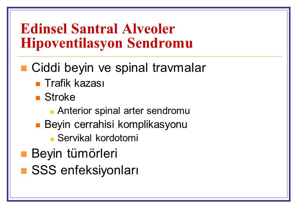 Edinsel Santral Alveoler Hipoventilasyon Sendromu Ciddi beyin ve spinal travmalar Trafik kazası Stroke Anterior spinal arter sendromu Beyin cerrahisi