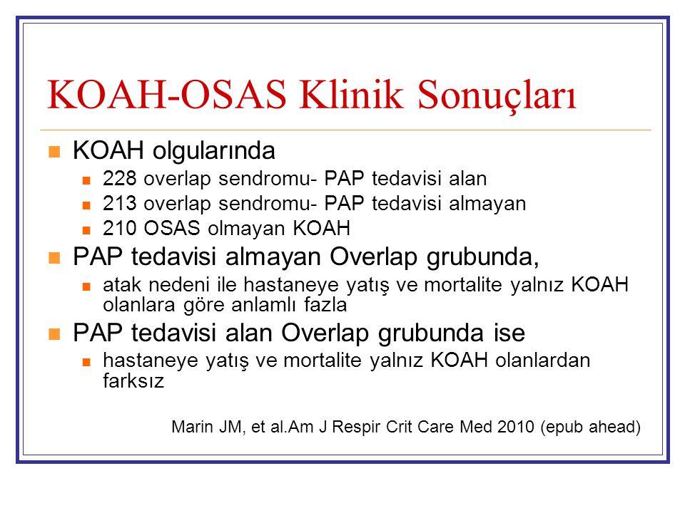 KOAH-OSAS Klinik Sonuçları KOAH olgularında 228 overlap sendromu- PAP tedavisi alan 213 overlap sendromu- PAP tedavisi almayan 210 OSAS olmayan KOAH P