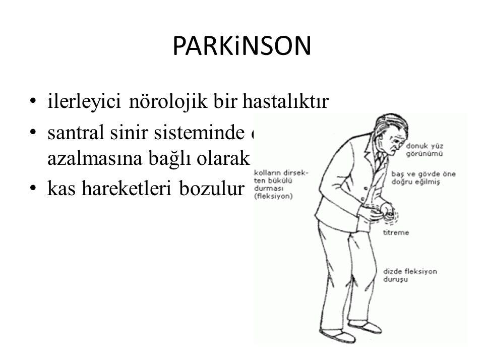 PARKiNSON ilerleyici nörolojik bir hastalıktır santral sinir sisteminde dopaminerjik etkinliğin azalmasına bağlı olarak gelişir kas hareketleri bozulu