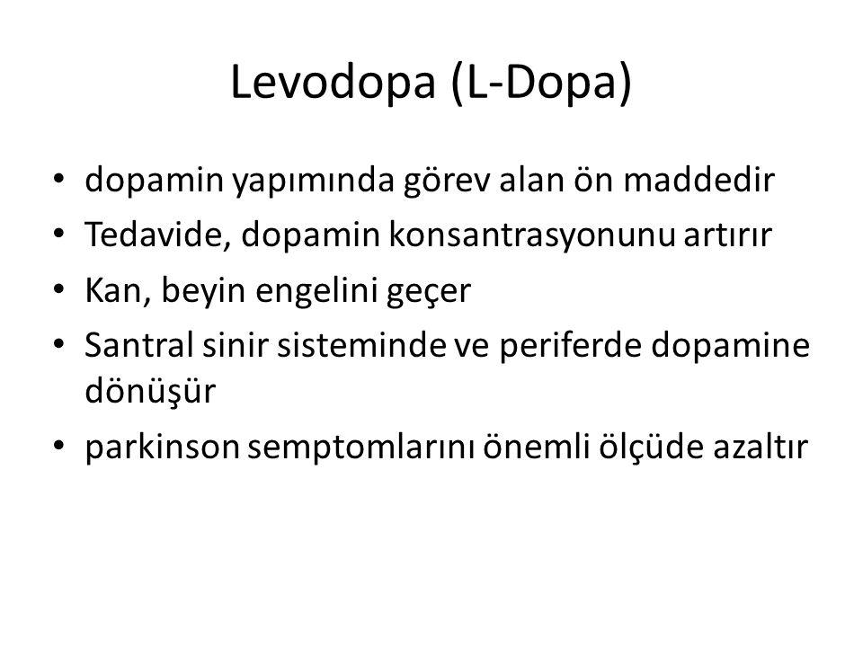 Levodopa (L-Dopa) dopamin yapımında görev alan ön maddedir Tedavide, dopamin konsantrasyonunu artırır Kan, beyin engelini geçer Santral sinir sistemin