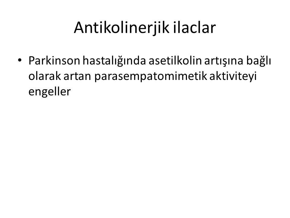 Antikolinerjik ilaclar Parkinson hastalığında asetilkolin artışına bağlı olarak artan parasempatomimetik aktiviteyi engeller