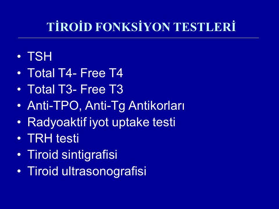 TİROİD FONKSİYON TESTLERİ TSH Total T4- Free T4 Total T3- Free T3 Anti-TPO, Anti-Tg Antikorları Radyoaktif iyot uptake testi TRH testi Tiroid sintigra