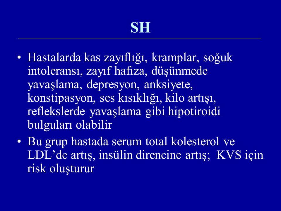 SH Hastalarda kas zayıflığı, kramplar, soğuk intoleransı, zayıf hafıza, düşünmede yavaşlama, depresyon, anksiyete, konstipasyon, ses kısıklığı, kilo a