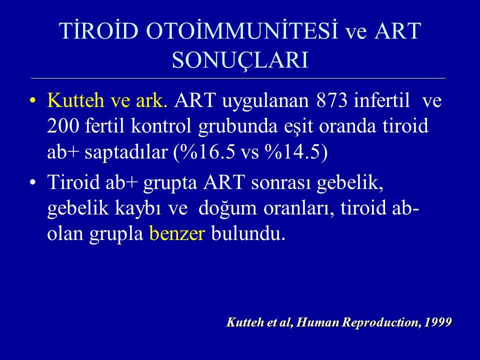 TİROİD OTOİMMUNİTESİ ve ART SONUÇLARI Kutteh ve ark. ART uygulanan 873 infertil ve 200 fertil kontrol grubunda eşit oranda tiroid ab+ saptadılar (%16.