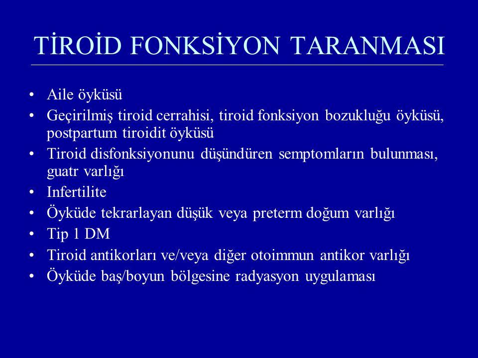 TİROİD FONKSİYON TARANMASI Aile öyküsü Geçirilmiş tiroid cerrahisi, tiroid fonksiyon bozukluğu öyküsü, postpartum tiroidit öyküsü Tiroid disfonksiyonu