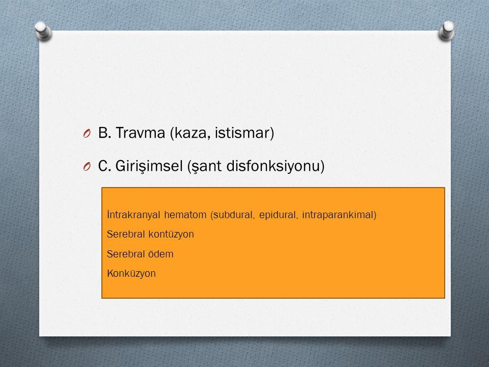 O B. Travma (kaza, istismar) O C. Girişimsel (şant disfonksiyonu) İntrakranyal hematom (subdural, epidural, intraparankimal) Serebral kontüzyon Serebr
