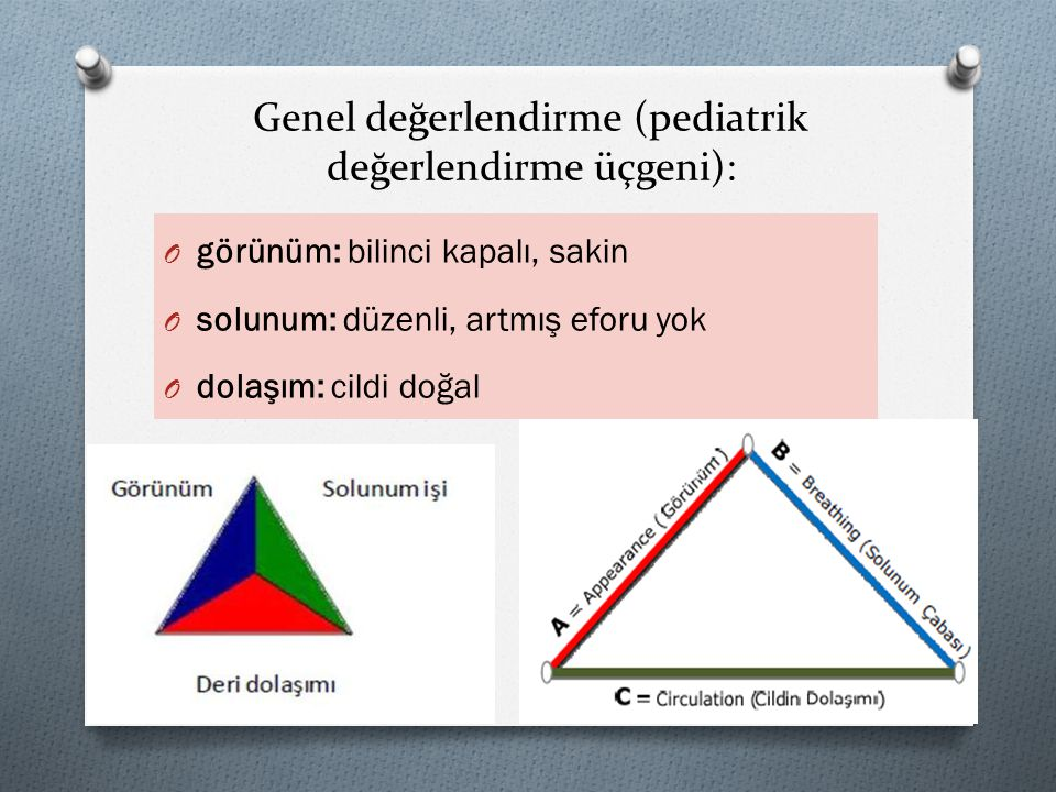 Genel değerlendirme (pediatrik değerlendirme üçgeni): O görünüm: bilinci kapalı, sakin O solunum: düzenli, artmış eforu yok O dolaşım: cildi doğal