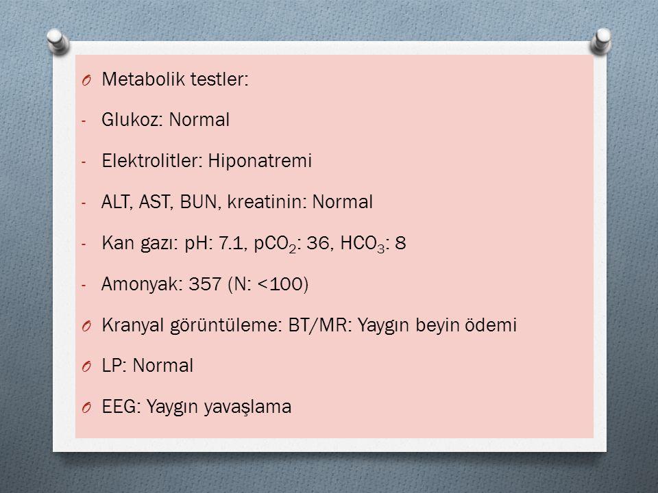 O Metabolik testler: - Glukoz: Normal - Elektrolitler: Hiponatremi - ALT, AST, BUN, kreatinin: Normal - Kan gazı: pH: 7.1, pCO 2 : 36, HCO 3 : 8 - Amo