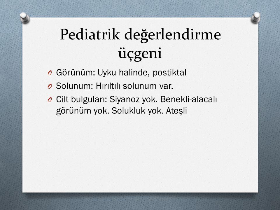 Pediatrik değerlendirme üçgeni O Görünüm: Uyku halinde, postiktal O Solunum: Hırıltılı solunum var. O Cilt bulguları: Siyanoz yok. Benekli-alacalı gör