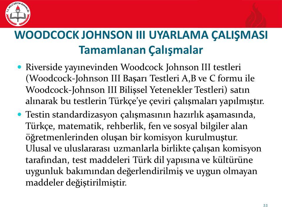 WOODCOCK JOHNSON III UYARLAMA ÇALIŞMASI Tamamlanan Çalışmalar Riverside yayınevinden Woodcock Johnson III testleri (Woodcock-Johnson III Başarı Testle