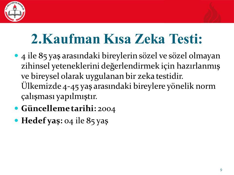 2.Kaufman Kısa Zeka Testi: 4 ile 85 yaş arasındaki bireylerin sözel ve sözel olmayan zihinsel yeteneklerini değerlendirmek için hazırlanmış ve bireysel olarak uygulanan bir zeka testidir.