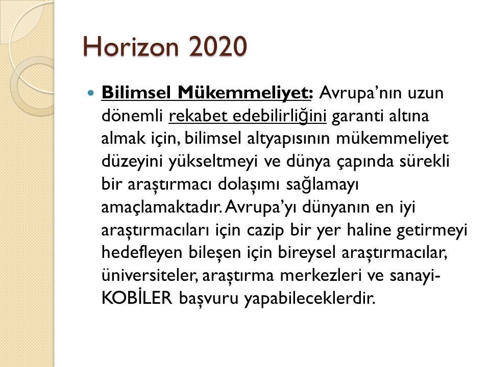 Horizon 2020 Bilimsel Mükemmeliyet: Avrupa'nın uzun dönemli rekabet edebilirli ğ ini garanti altına almak için, bilimsel altyapısının mükemmeliyet düzeyini yükseltmeyi ve dünya çapında sürekli bir araştırmacı dolaşımı sa ğ lamayı amaçlamaktadır.