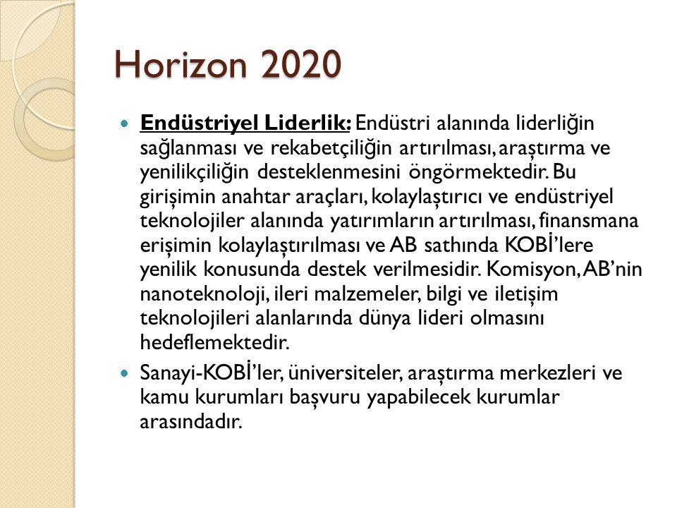 Horizon 2020 Endüstriyel Liderlik: Endüstri alanında liderli ğ in sa ğ lanması ve rekabetçili ğ in artırılması, araştırma ve yenilikçili ğ in desteklenmesini öngörmektedir.