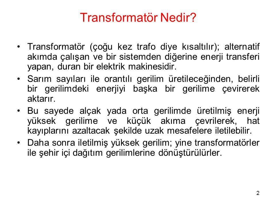 2 Transformatör Nedir? Transformatör (çoğu kez trafo diye kısaltılır); alternatif akımda çalışan ve bir sistemden diğerine enerji transferi yapan, dur