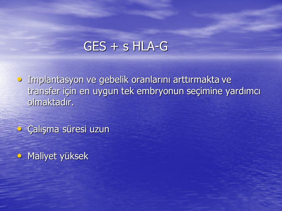 GES + s HLA-G GES + s HLA-G Implantasyon ve gebelik oranlarını arttırmakta ve transfer için en uygun tek embryonun seçimine yardımcı olmaktadır.