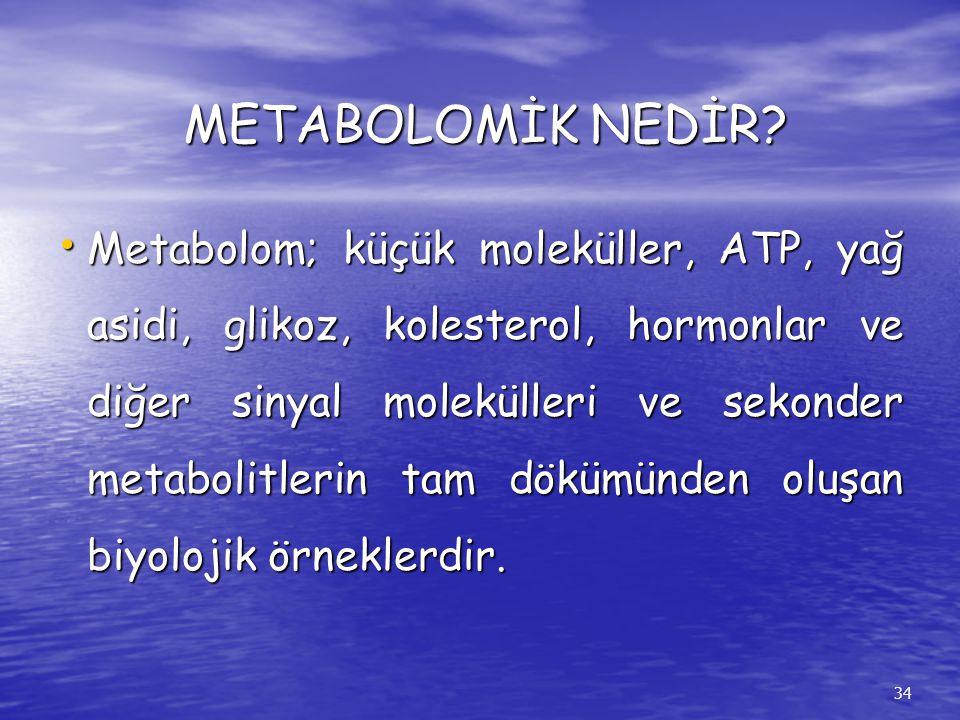 METABOLOMİK NEDİR? Metabolom; küçük moleküller, ATP, yağ asidi, glikoz, kolesterol, hormonlar ve diğer sinyal molekülleri ve sekonder metabolitlerin t