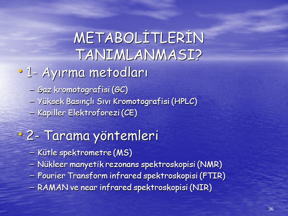 METABOLİTLERİN TANIMLANMASI? 36 1- Ayırma metodları 1- Ayırma metodları – Gaz kromotografisi (GC) – Yüksek Basınçlı Sıvı Kromotografisi (HPLC) – Kapil