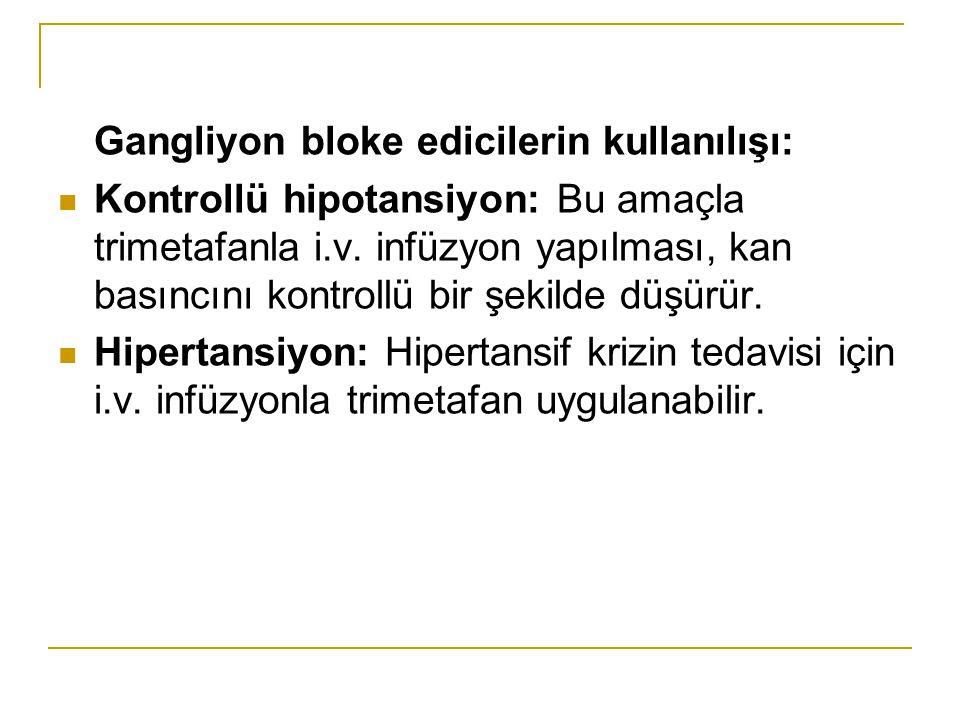 Gangliyon bloke edicilerin kullanılışı: Kontrollü hipotansiyon: Bu amaçla trimetafanla i.v. infüzyon yapılması, kan basıncını kontrollü bir şekilde dü