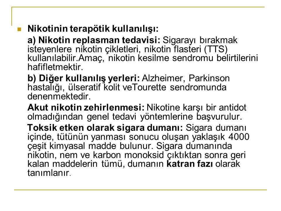 Nikotinin terapötik kullanılışı: a) Nikotin replasman tedavisi: Sigarayı bırakmak isteyenlere nikotin çikletleri, nikotin flasteri (TTS) kullanılabili