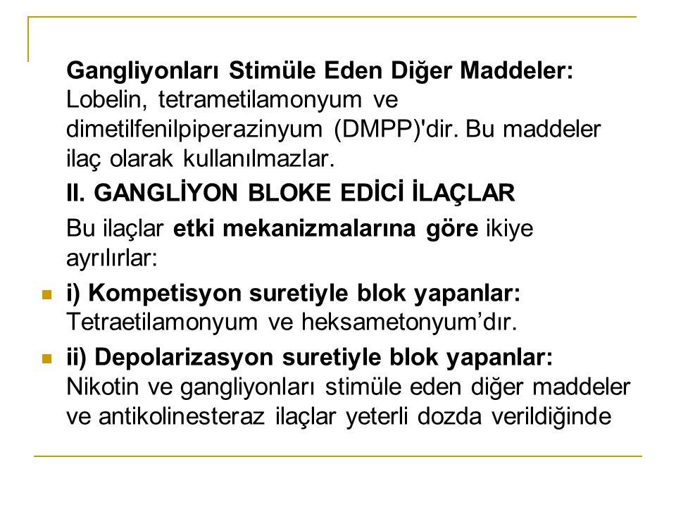 Gangliyonları Stimüle Eden Diğer Maddeler: Lobelin, tetrametilamonyum ve dimetilfenilpiperazinyum (DMPP)'dir. Bu maddeler ilaç olarak kullanılmazlar.