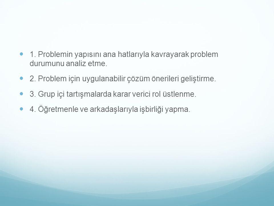 1.Problemin yapısını ana hatlarıyla kavrayarak problem durumunu analiz etme.