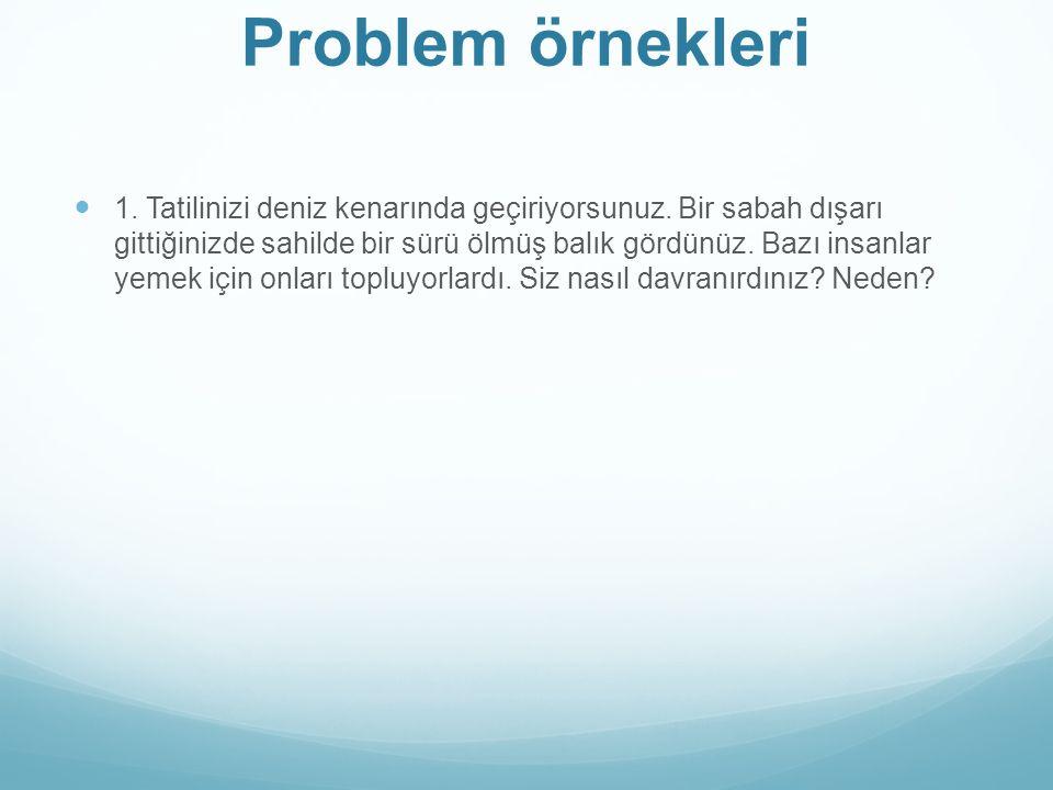 Problem örnekleri 1.Tatilinizi deniz kenarında geçiriyorsunuz.