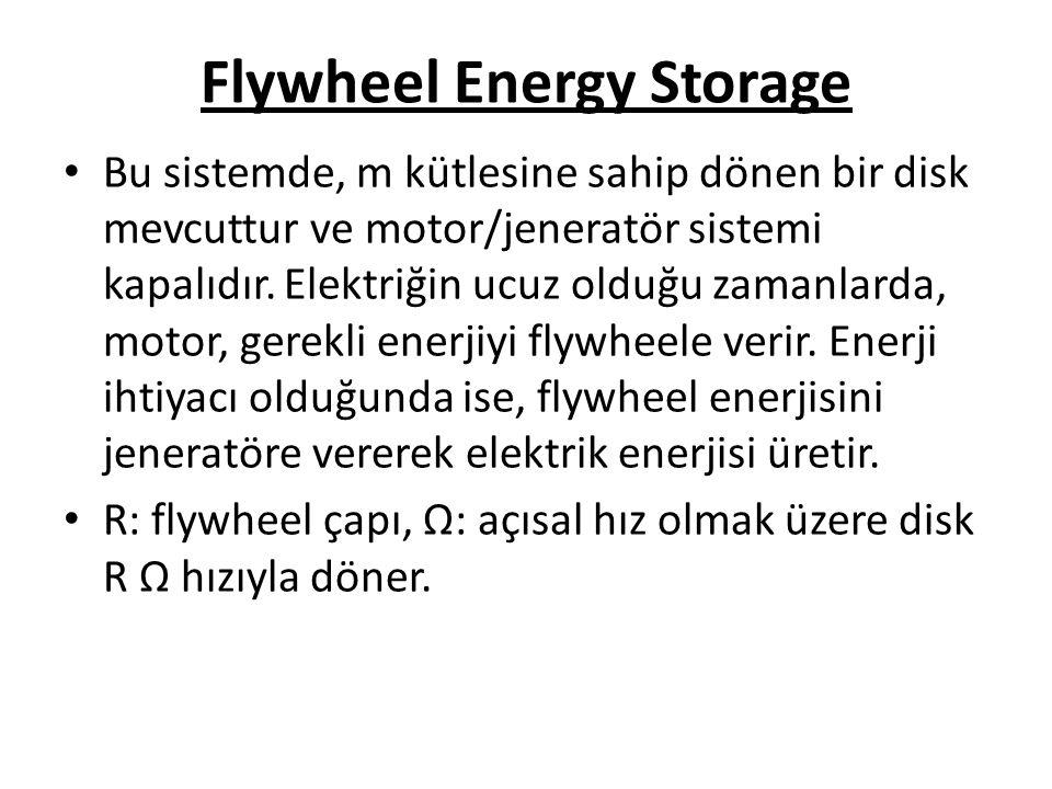 Flywheel Energy Storage Bu sistemde, m kütlesine sahip dönen bir disk mevcuttur ve motor/jeneratör sistemi kapalıdır.