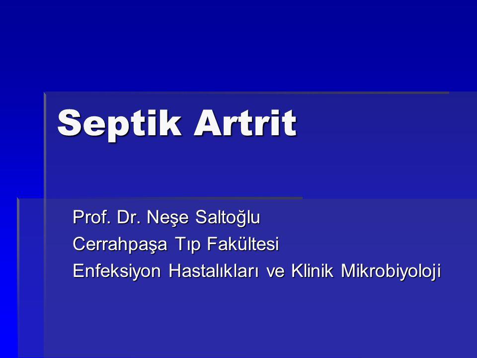 Septik Artrit Prof. Dr. Neşe Saltoğlu Cerrahpaşa Tıp Fakültesi Enfeksiyon Hastalıkları ve Klinik Mikrobiyoloji