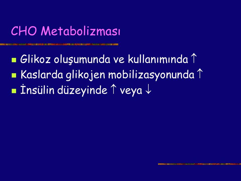 CHO Metabolizması Glikoz oluşumunda ve kullanımında  Kaslarda glikojen mobilizasyonunda  İnsülin düzeyinde  veya 