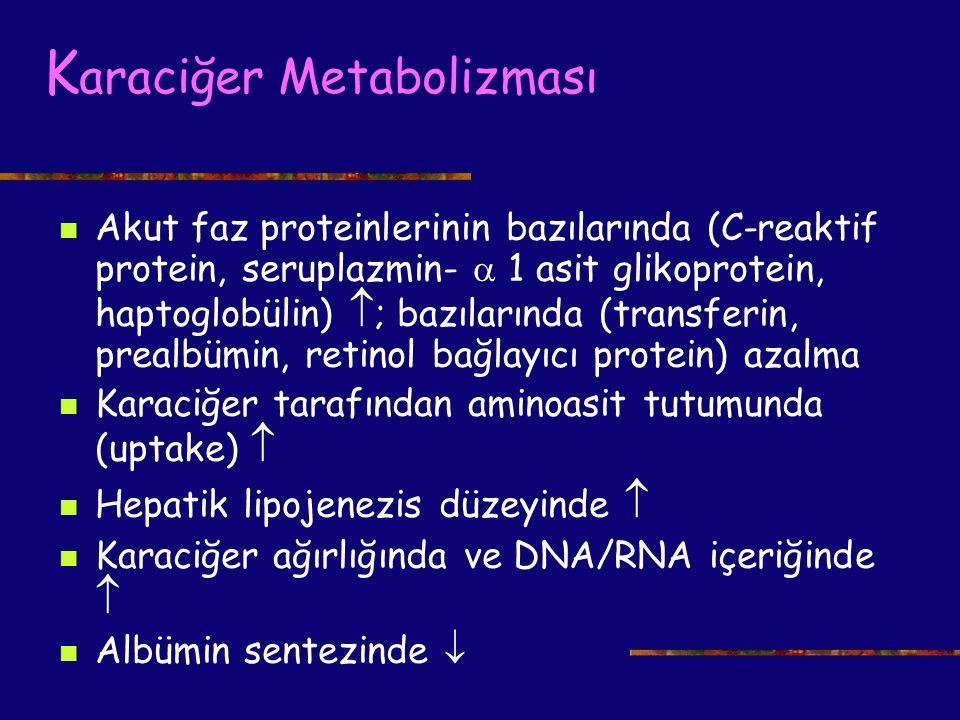 K araciğer Metabolizması Akut faz proteinlerinin bazılarında (C-reaktif protein, seruplazmin-  1 asit glikoprotein, haptoglobülin)  ; bazılarında (t
