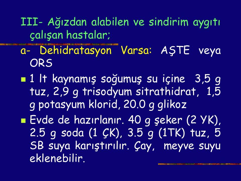 III- Ağızdan alabilen ve sindirim aygıtı çalışan hastalar; a- Dehidratasyon Varsa: AŞTE veya ORS 1 lt kaynamış soğumuş su içine 3,5 g tuz, 2,9 g triso